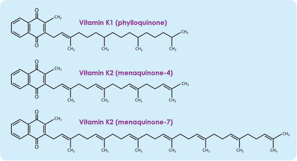 Vitamin K1 and Vitamin K2 chemical diagrams
